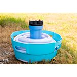 Camco RV Water Hose and Electrical Cord Basket, Blue, E / F