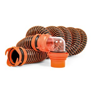 RhinoEXTREME Sewer Hose Kit - 15' w / Swivel Fittings 4N1 Elbow Caps Bilingual