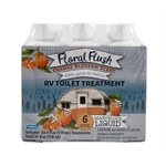 Floral Flush RV Toilet Treatment, Orange Blossom, Singles, (6) 4 oz. Bottles