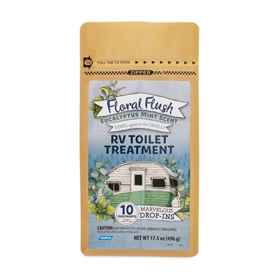 Floral Flush RV Toilet Treatment, Drop-Ins, Eucalyptus Mint, 10 Per Bag