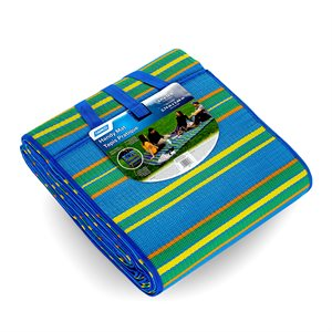 Handy Mat with Strap, 9-Feet x 12-Feet- Blue, Green and Yellow Stripes