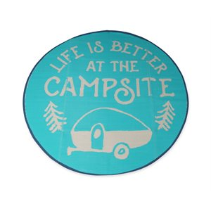 Camco Life is Better at the Campsite Outdoor Mat, 6-Foot Round, Logo Design