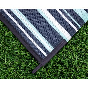 Camco Reversible RV Awning & Outdoor Mat – 9-Foot x 12-Foot, Stripe, Dark Green / Light Green / White