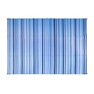 Camco Reversible RV Awning & Outdoor Mat – 9-Foot x 12-Foot, Stripe, Dark Blue / Light Blue / White