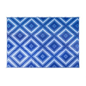 Camco Reversible RV Awning & Outdoor Mat – 9-Foot x 12-Foot, Zig Zag-Diamond, Blue / Blue / White