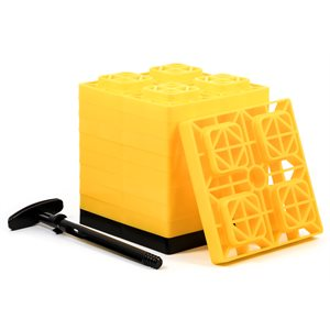 FasTen Leveling Blocks - w / T-Handle,2x2,Yellow 10 pack Bilingual
