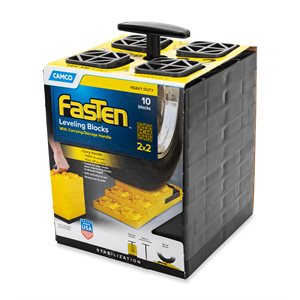 FasTen Leveling Blocks - w / T-Handle,2x2,Brown 10 pack Bilingual