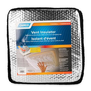 Camco RV Black-Out Vent Insulator with Reflective Surface, 14-Inch x 14-Inch, Black