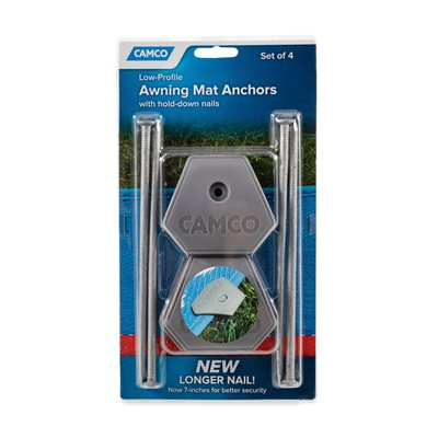 Camco RV Awning Mat Anchors, Set of 4 with 7-Inch Hold-Down Nails, Gray