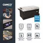 CAM-750 Portable Refrigerator, AC 110V / DC 12V Compact Fridge / Freezer with Dual Zone Cooling, 75-Liter