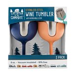 Life is Better at the Campsite Wine Tumbler Set, 8 oz., Navy and Peach