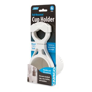 Camco Clamp-On Rail Mounted Cup Holder, Large for Up to 2-Inch Rail, White