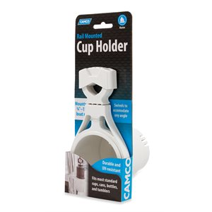 Camco Clamp-On Rail Mounted Cup Holder, Small for Up to 1-1 / 4-Inch Rail, White