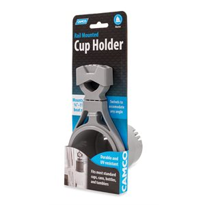 Camco Clamp-On Rail Mounted Cup Holder, Large for Up to 2-Inch Rail, Gray