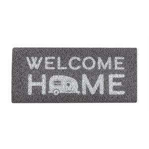 Camco Life is Better at the Campsite RV Wrap Around Step Rug, Fits 23-Inch Wide Steps- Welcome Home, Gray / White