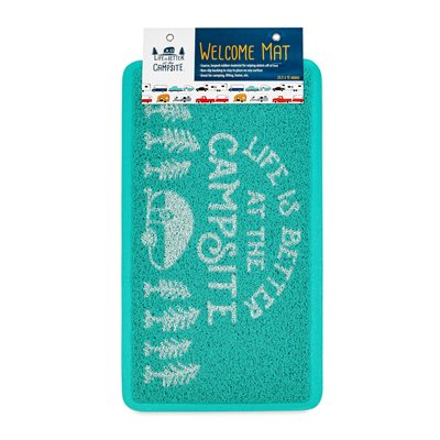 Camco Life is Better at the Campsite Scrub Rug, Teal / White, Small