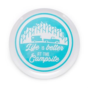 Life is Better at the Campsite Dinner Plate- Trailer & Tree Pattern
