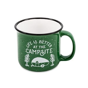 Life is Better at the Campsite Speckled Mug, Green, 14 oz.