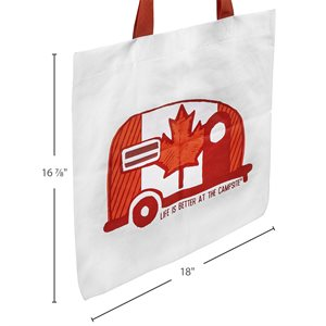 Life is Better at the Campsite Tote Bag, Canadian Flag Mini Camper