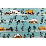 Camco Life is Better at the Campsite Tablecloth with Bench Covers, RV and Tree Sketch Design