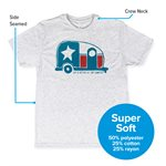 Life is Better at the Campsite T-Shirt, Texas Flag Camper, Heather White, Small