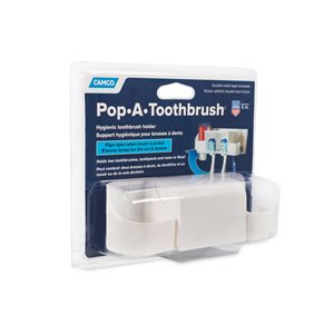 Camco Pop-A-Toothbrush with Paste and Floss Holder, White