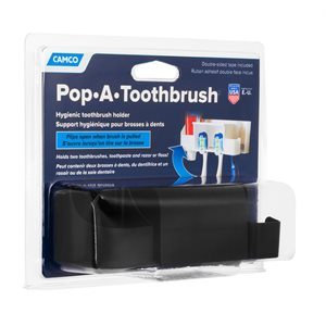 Camco Pop-A-Toothbrush with Paste and Floss Holder, Black